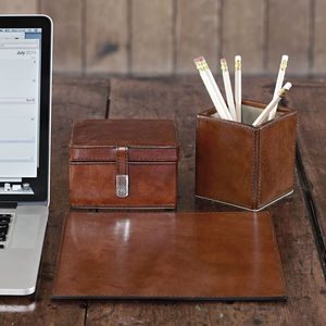 Leather Desk Set Small - office & study