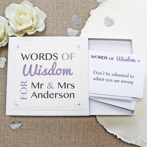'Mr And Mrs' Words Of Wisdom Notes - wedding cards