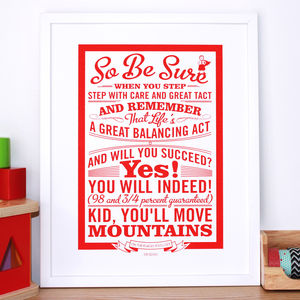 'Oh The Places You'll Go!' Dr Seuss Print - children's pictures & paintings