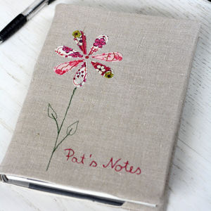 Personalised Embroidered Notebook   Flower - writing