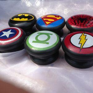 Set Of Six Superhero Logo Furniture Knobs