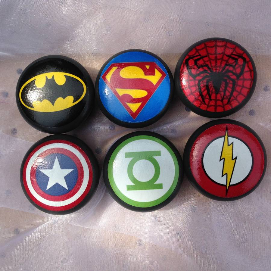 set of six superhero logo furniture knobs by surface candy