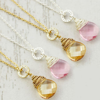 Bridesmaid Set Of Four Crystal Necklaces
