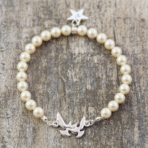 Cream Pearl Bracelet With Bird Detail - bracelets & bangles