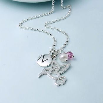 Silver Hummingbird, Birthstone And Initial Necklace