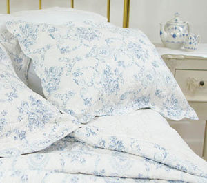 Blue Hearts And Roses Quilted Pillowsham - bed, bath & table linen