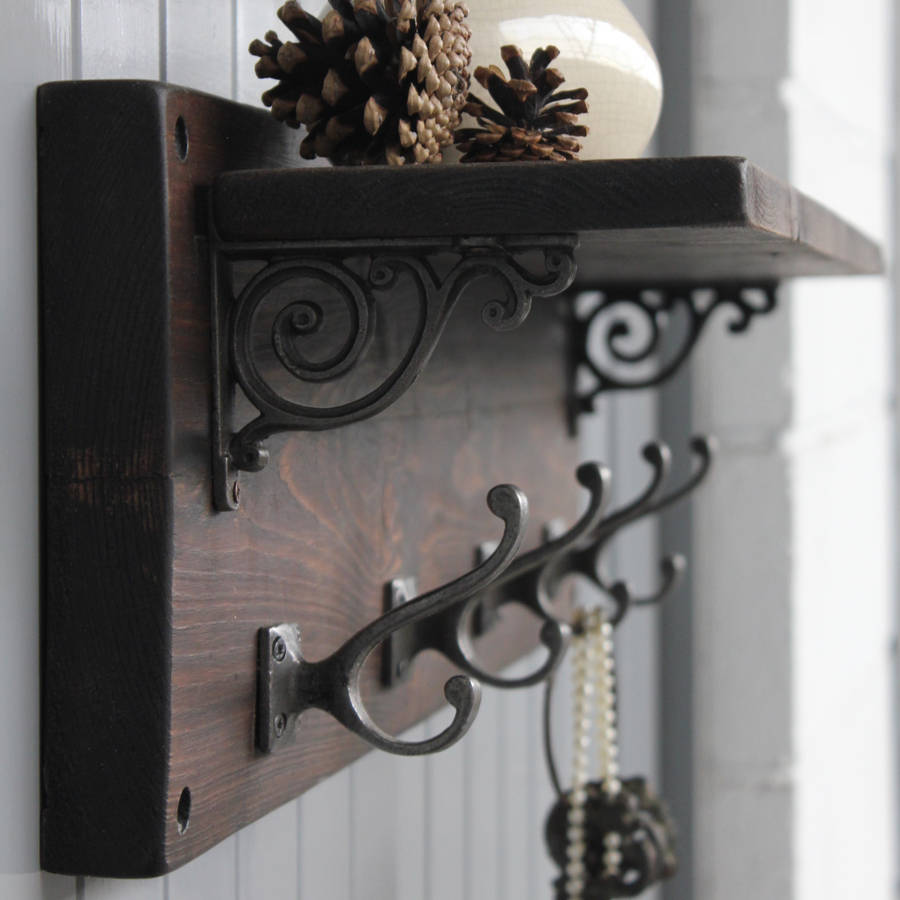 Reclaimed wood victorian coat hook shelf by möa design