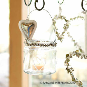 Glass Hearts And Bells Tealight Holder - lights & lanterns