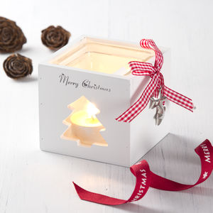 Wooden Christmas Tea Light With Gingham Ribbon