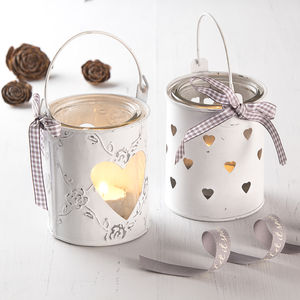 White Metal Heart Tea Light Holder - candles & candlesticks