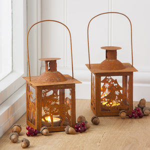 Rusted Tin Christmas Lantern - christmas home accessories