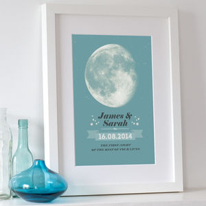 Personalised Wedding Night Moon Print