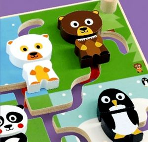 Djeco Colourful Wooden Mix And Match Animal Maze