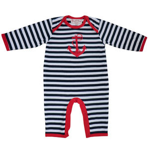 Stripes And Anchor Long Sleeved Babygrow