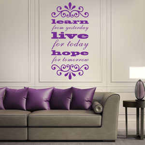 'Learn, Live, Hope…' Quote Wall Sticker