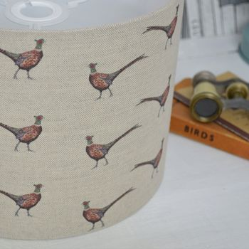 Pheasants Linen Drum Lampshade