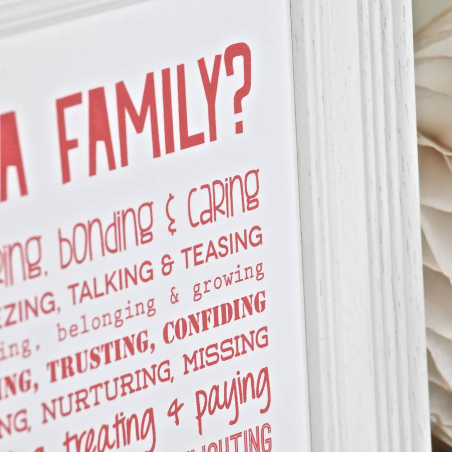 Personalised Family Print With Family Poem By Bespoke Verse