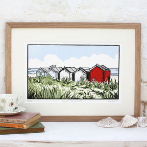 'Suffolk Beach Huts' Art Print