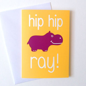 Funny Birthday Card Hip Hip Hippo Ray - birthday cards