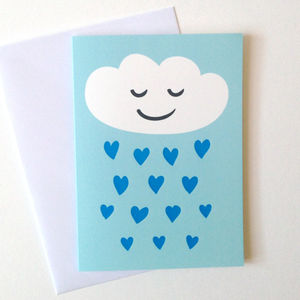Raining Hearts Birthday Card