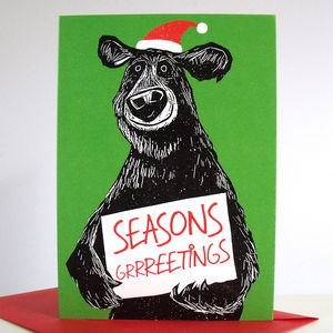 'Seasons Grrreetings' Pack Of Six Christmas Cards - cards & invitations