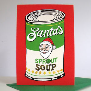 'Santa's Sprout Soup' Pack Of Six Christmas Cards - cards & wrap