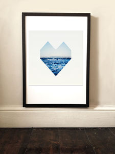 Ocean Heart Graphic Print - children's pictures & paintings