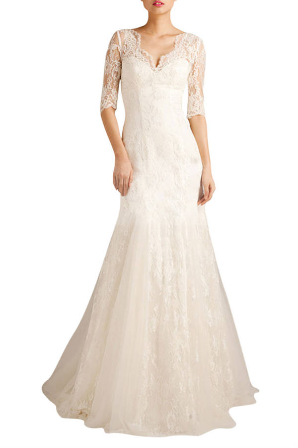Short sleeve lace wedding dress by elliot claire london for No lace wedding dress