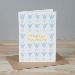 'Tulip Happy Anniversary' Card - anniversary cards