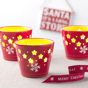 Red Ceramic Christmas Tea Light Holder