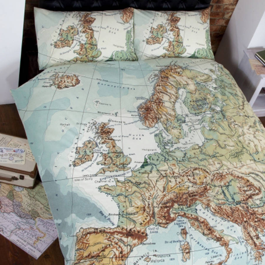 globe map vintage double duvet set by ciel  : originalglobe map vintage double duvet set from www.notonthehighstreet.com size 900 x 900 jpeg 132kB