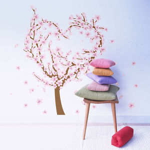 Love Heart Blossom Tree Wall Sticker - wall stickers