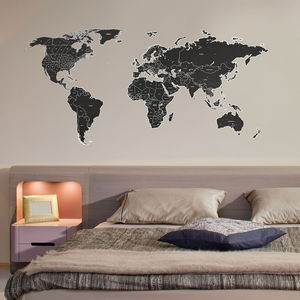 Black Labelled World Map Wall Stickers