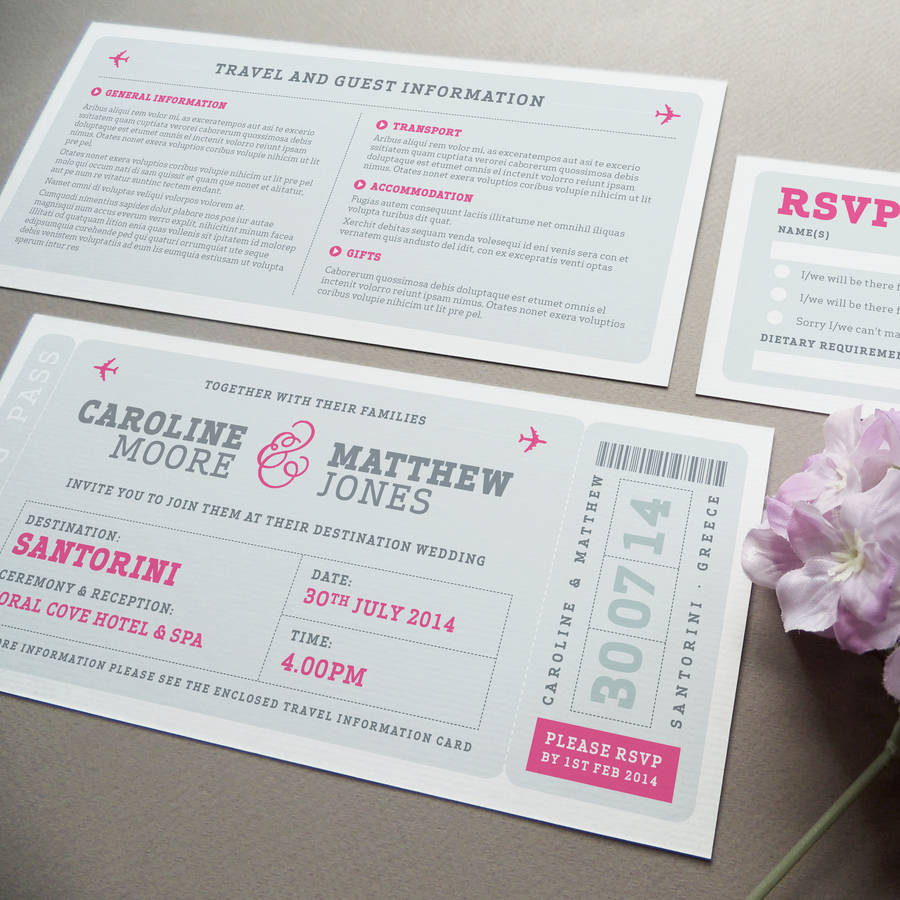 what write on wedding invitation%0A Airline Boarding Pass Wedding Invitation