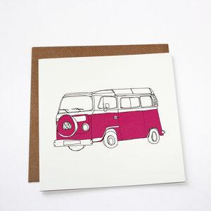 Campervan Greetings Card Pink