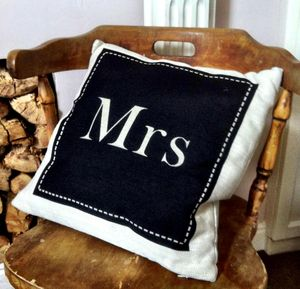 Mrs Wedding Cushion - decorative accessories