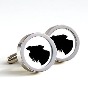 Dog Silhouette Cufflinks Airedale Dog