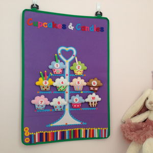 Child's Cupcake Maths Educational Wall Hanging