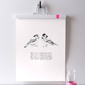 Personalised Valentine Bird Print - prints & art