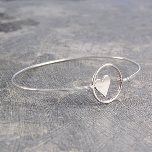 Sterling Silver Heart Bracelet Bangle - rings