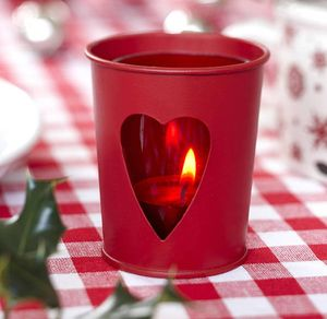 Red Tin Christmas Tea Light Holder - lighting