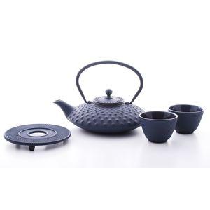 Blue/Black Cast Iron Tea Set - crockery & chinaware