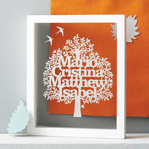 Personalised Family Tree Hand Cut Papercut - mixed media & collage