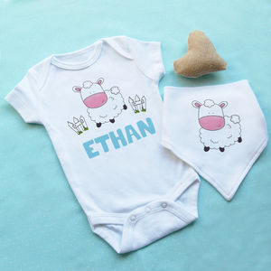 Personalised Sheep Baby Vest And Bib Set
