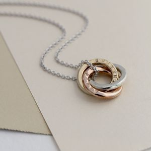 Personalised 9ct Mixed Gold Mini Russian Ring Necklace - wedding jewellery