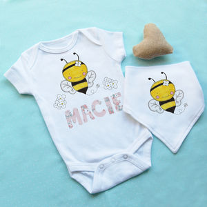 Personalised Bumble Bee Baby Vest And Bib Set - babygrows