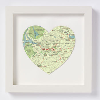 Glasgow Map Heart Location Print