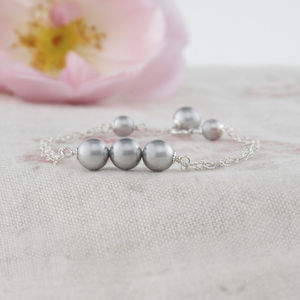 Beatrice Grey Pearl And Silver Bracelet