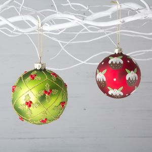 Glass Holly Or Christmas Pudding Bauble - decorative accessories