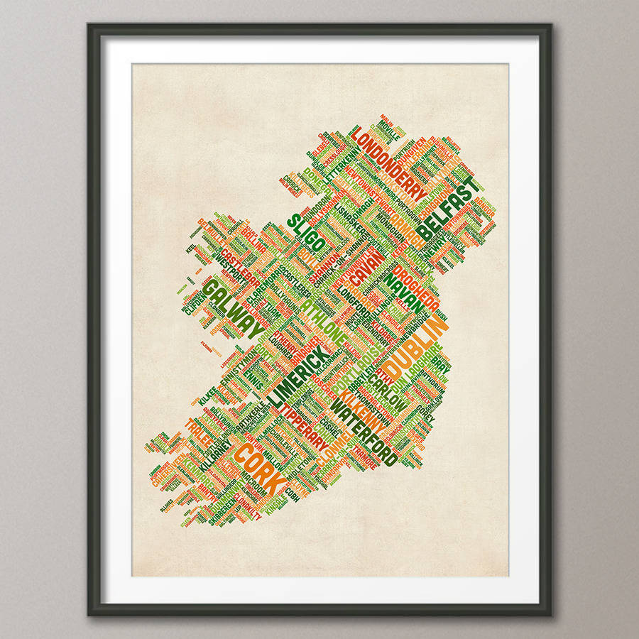 Map Of Ireland Poster.Ireland City Text Map By Artpause Notonthehighstreet Com